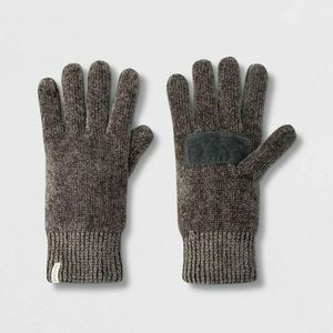 Isotoner Gray Chenille Gloves with Palm Patch